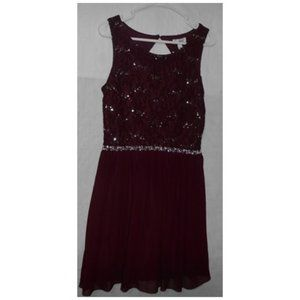 Speechless Silver Burgundy/Wine Party Dress sz 13
